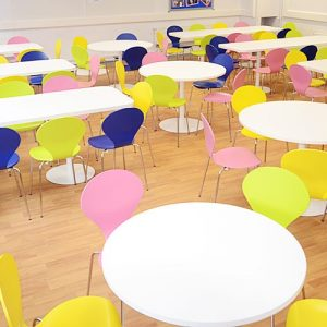weatherhead school colourful canteen chairs