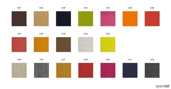Weet chair fabric colours