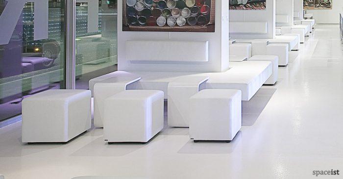 white square modular cube seating
