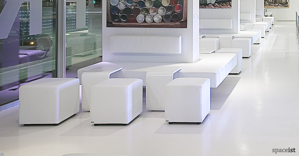 white square modular cube seating