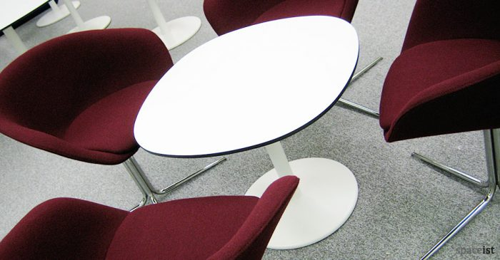 white squoval cafe tables