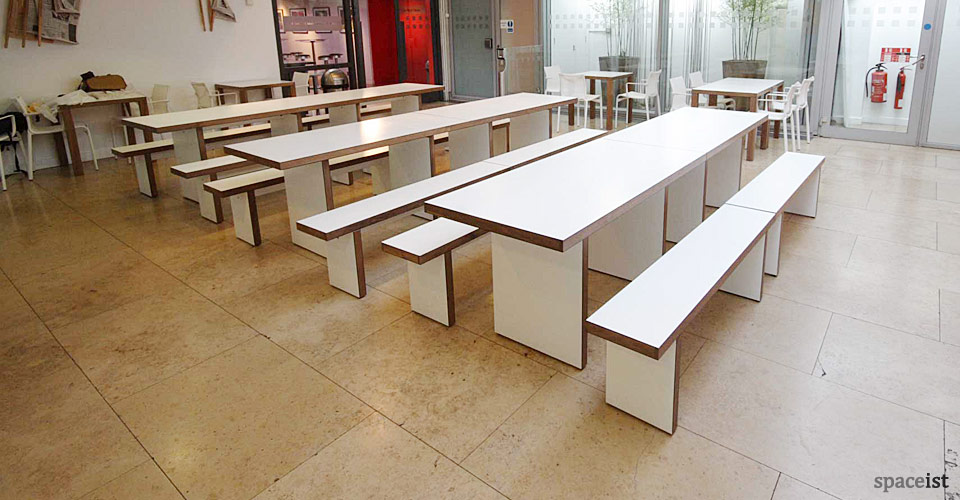 white and walnut canteen table and benches