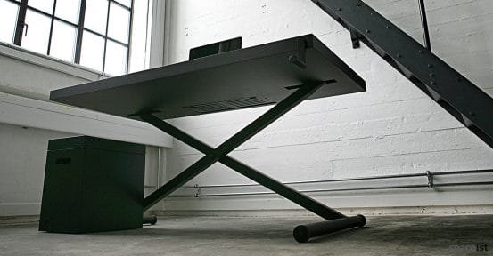 X style standing office desk under-side