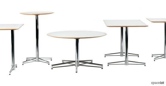 x cafe table with a chrome star base