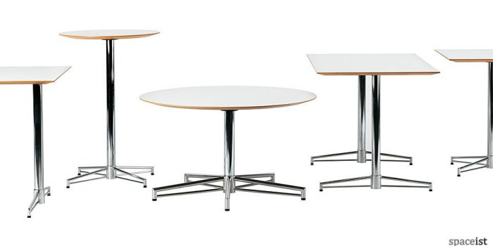 x cafe table with a chrome star base