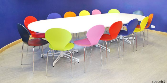 X large white meeting tables with D-shaped ends