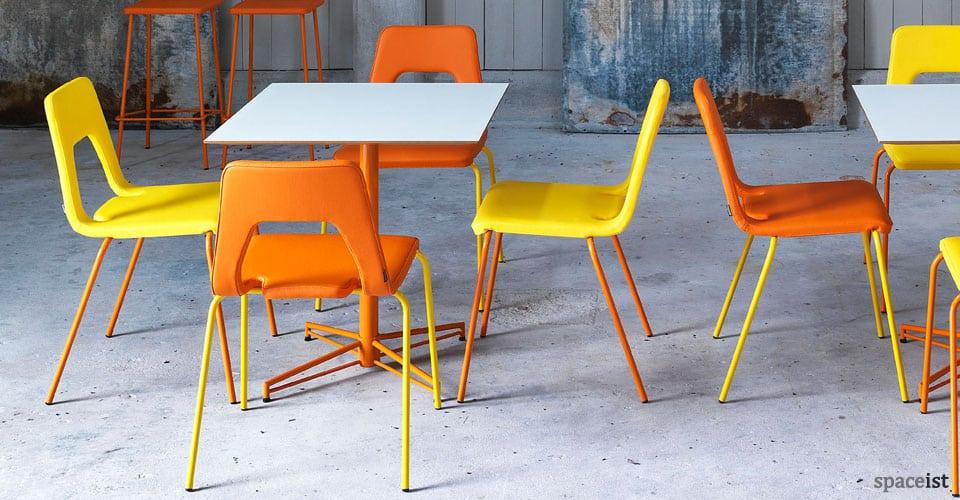 Square cafe tables orange