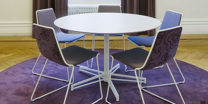 x white round meeting table