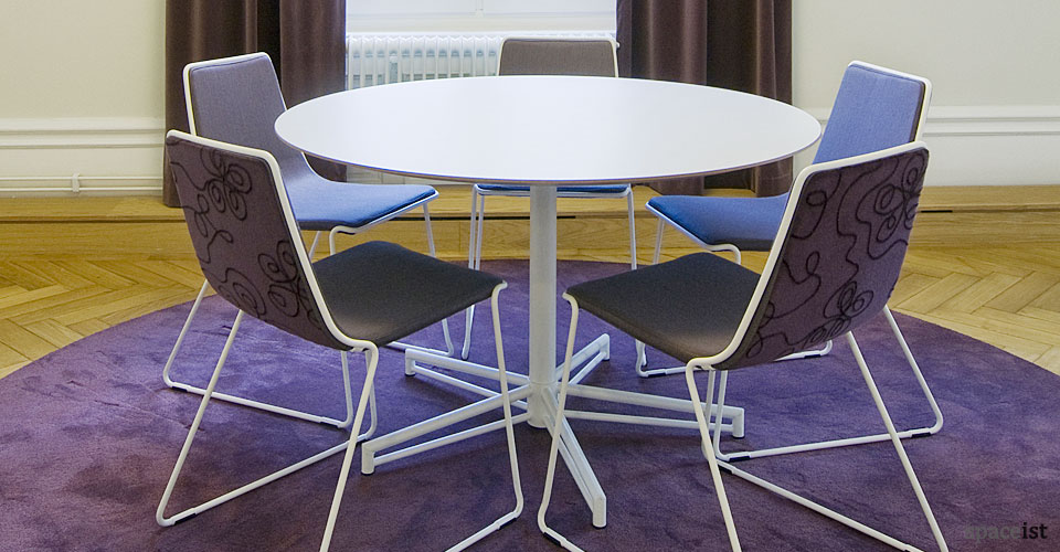 x white round meeting table