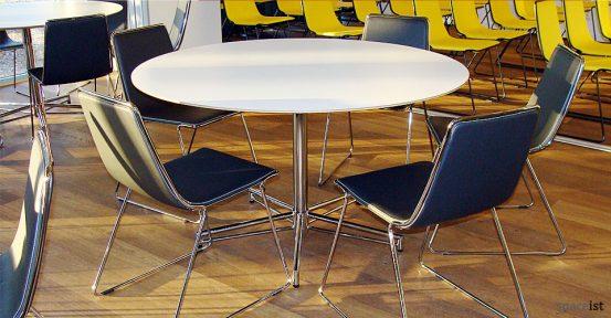 x white round meeting tables
