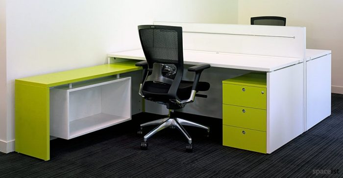 xl lime green corner desks