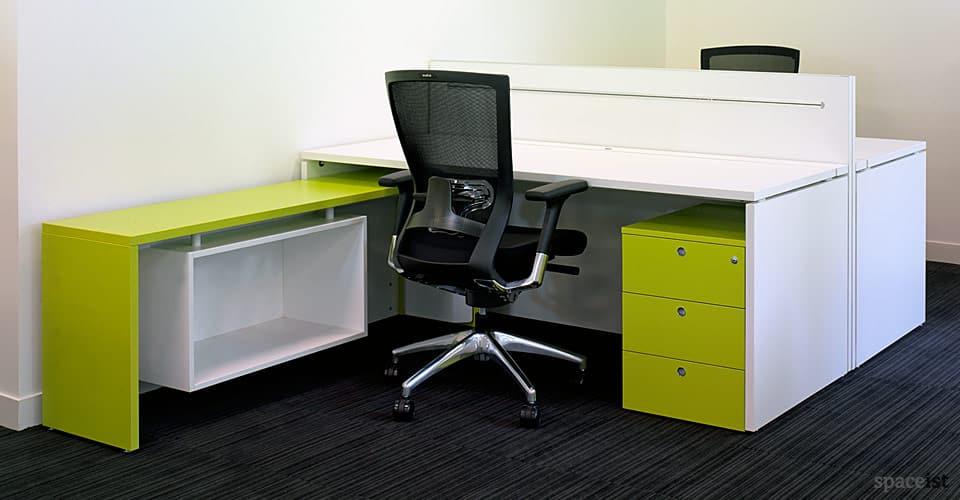 xl lime green corner desks