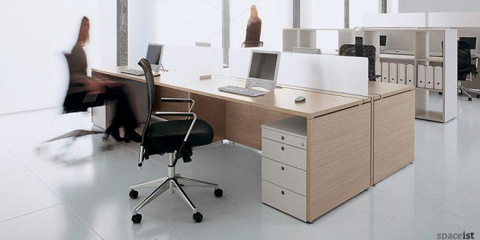 xl 4 person white bench desks