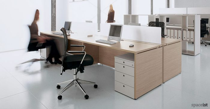 xl 4 person white bench desks