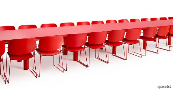 10 person red meeting table