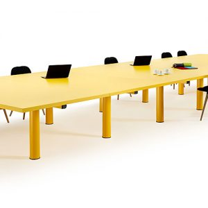 Very large yellow meeting room table
