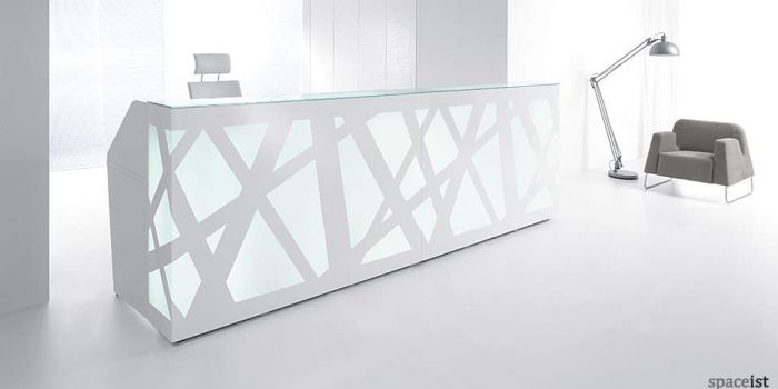 Reception Counter with Geometric Front Panel
