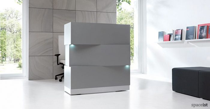 Zen silver block style reception counter