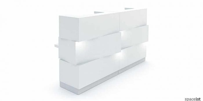 White Reception Counter with Lights