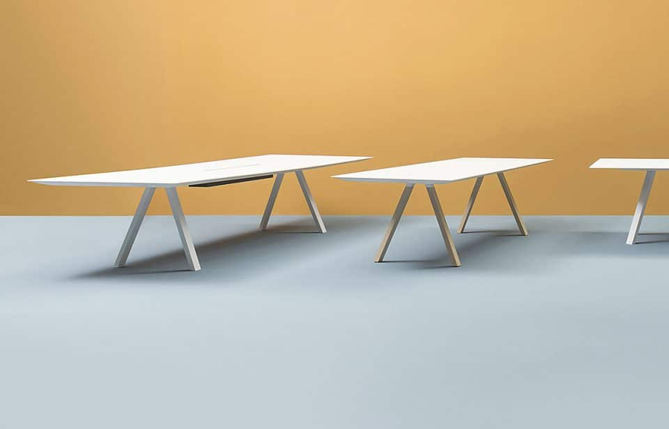 White conference table with legs