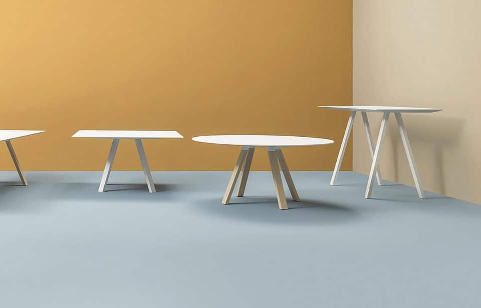 White conference table with wood legs