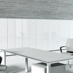 White glass office cabinets