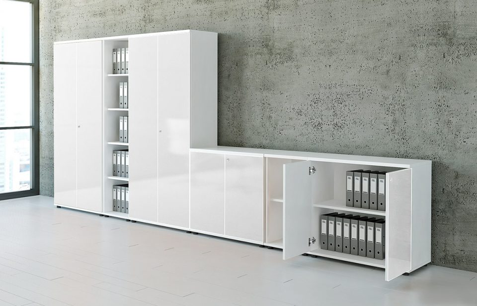 White gloss cabinets
