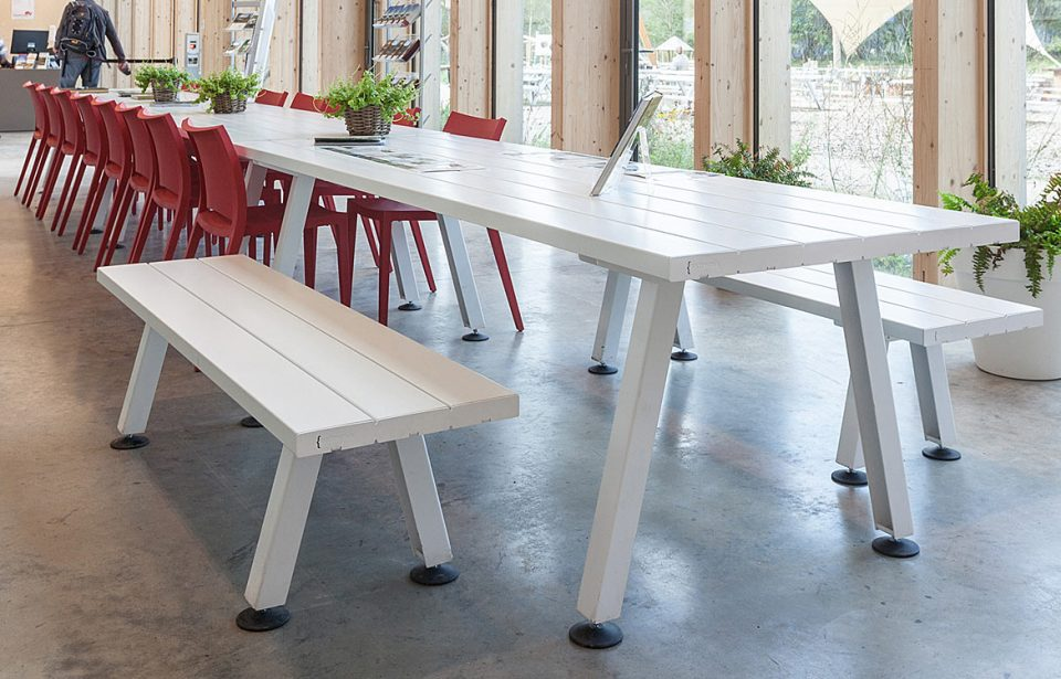 White indoor canteen table