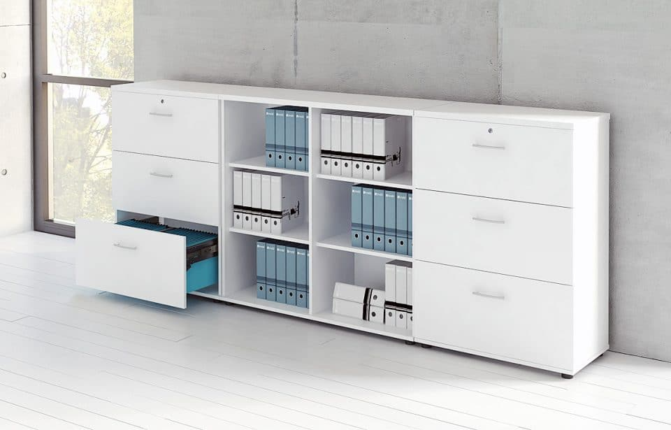 white office cabinet with hanging files