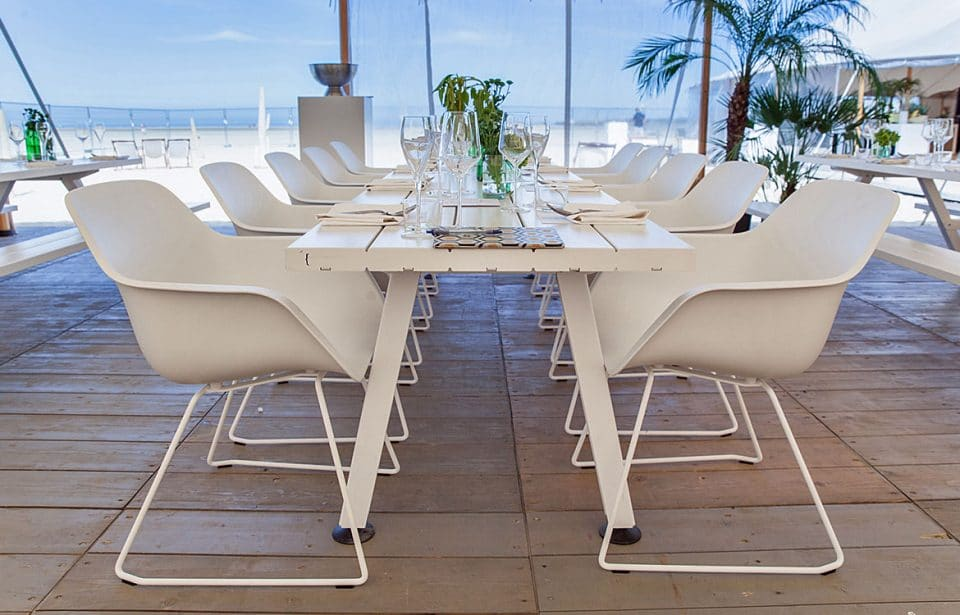White outdoor canteen table