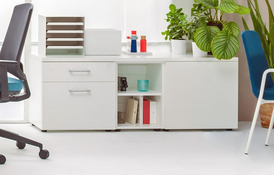 Low white storage with drawers